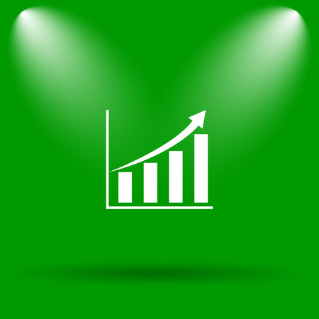 inventor: Chart icon. Internet button on green background. Stock Photo