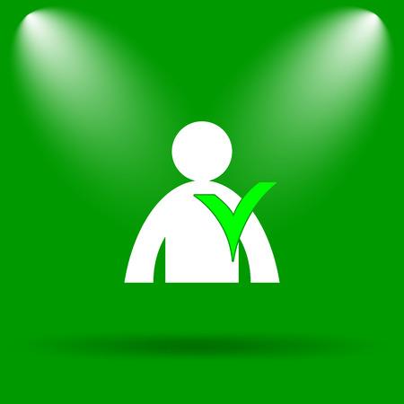 User online icon. Internet button on green background.