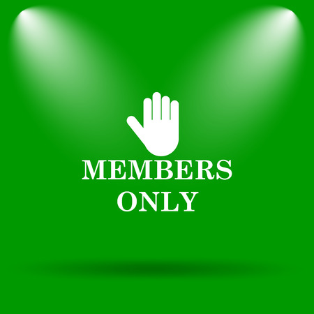 closed club: Members only icon. Internet button on green background.