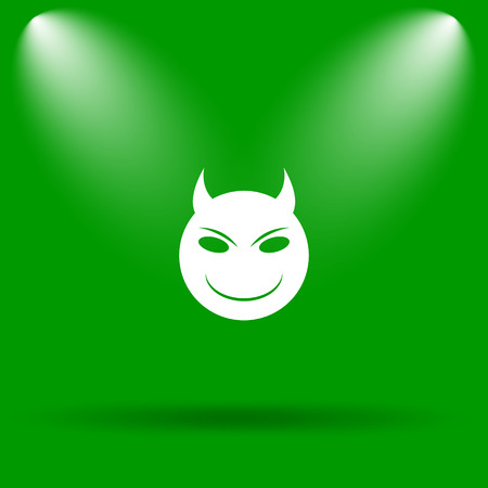 angry smiley face: Evil icon. Internet button on green background. Stock Photo