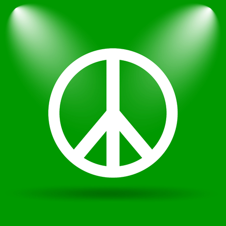 green peace: Peace icon. Internet button on green background. Stock Photo