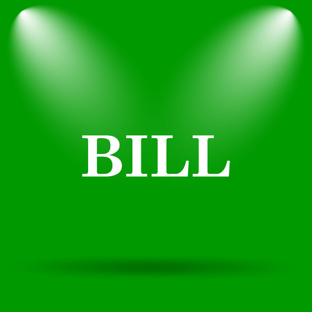 payable: Bill icon. Internet button on green background. Stock Photo