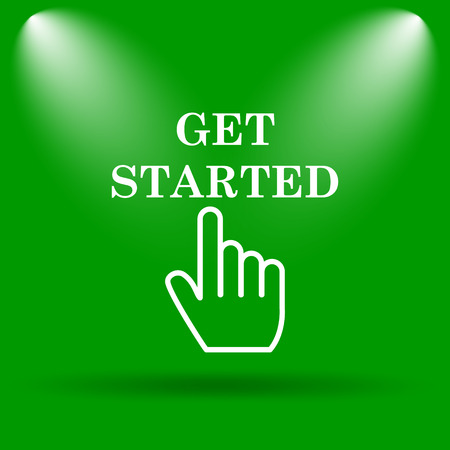 Get started icon. Internet button on green background. Stock Photo
