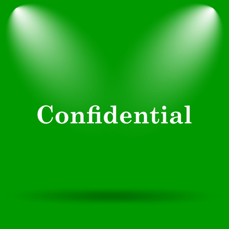 confidential: Confidential icon. Internet button on green background.