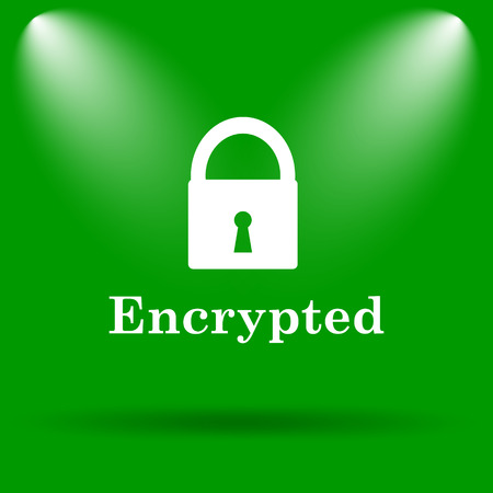 encrypted: Encrypted icon. Internet button on green background.