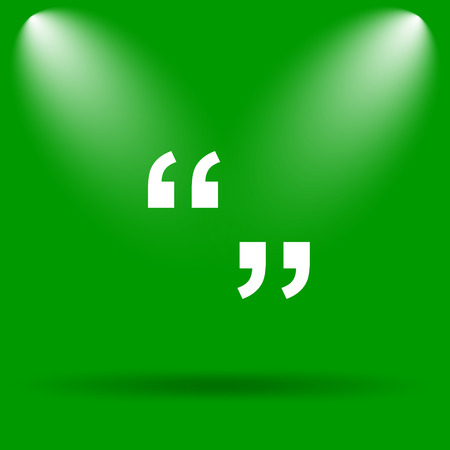quotation marks: Quotation marks icon. Internet button on green background.