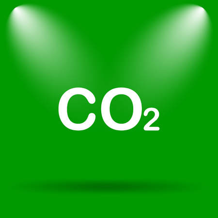 co2: CO2 icon. Internet button on green background. Stock Photo