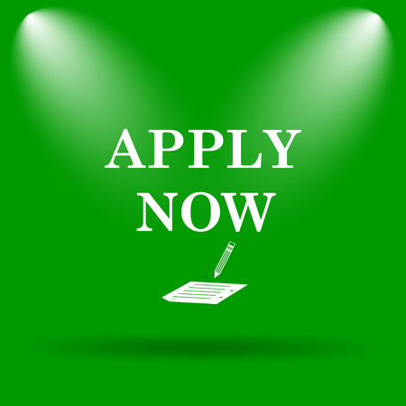 apply: Apply now icon. Internet button on green background.