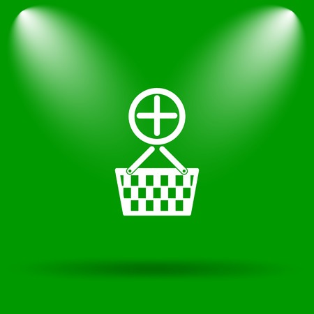 add to basket: Add to basket icon. Internet button on green background.