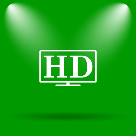 hd tv: HD TV icon. Internet button on green background.