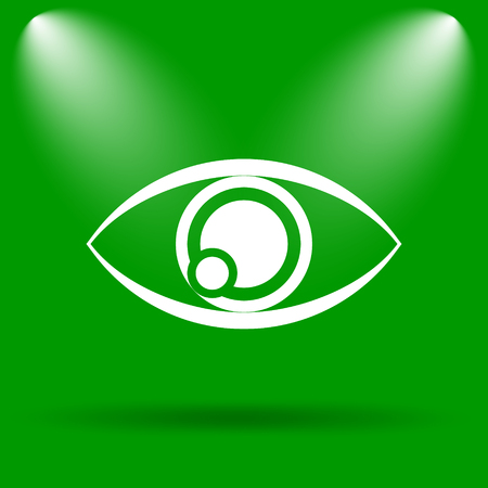 see a doctor: Eye icon. Internet button on green background.