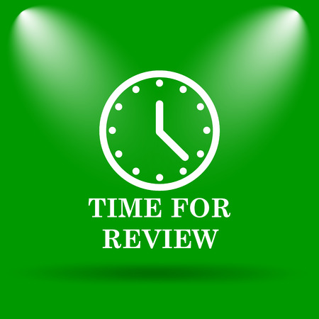 assess: Time for review icon. Internet button on green background.