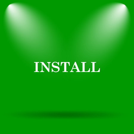 install: Install icon. Internet button on green background.