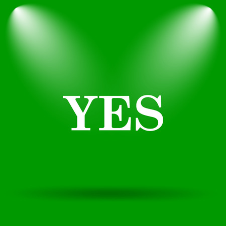 proceed: Yes icon. Internet button on green background. Stock Photo
