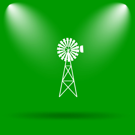 alternate: Classic windmill icon. Internet button on green background.
