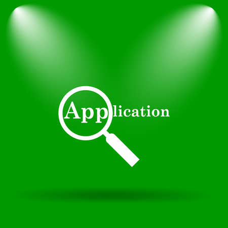 requisition: Application icon. Internet button on green background.