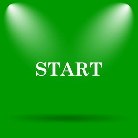 proceed: Start icon. Internet button on green background. Stock Photo