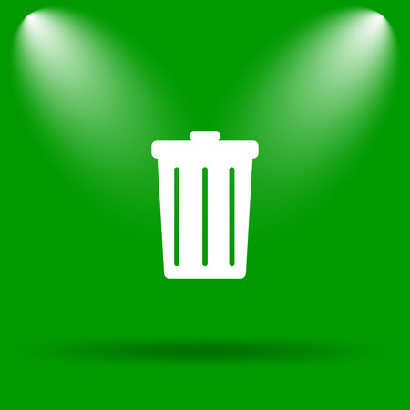 dumping: Bin icon. Internet button on green background. Stock Photo