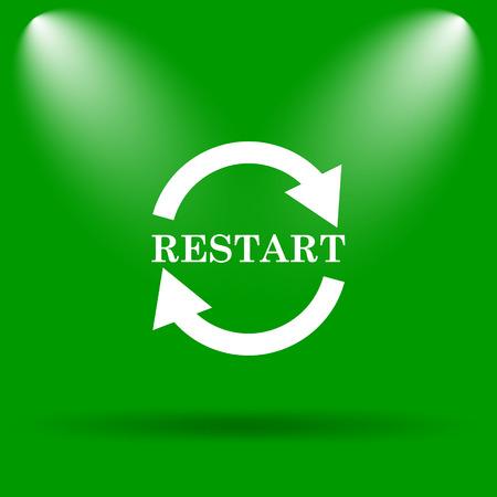 restart: Restart icon. Internet button on green background.