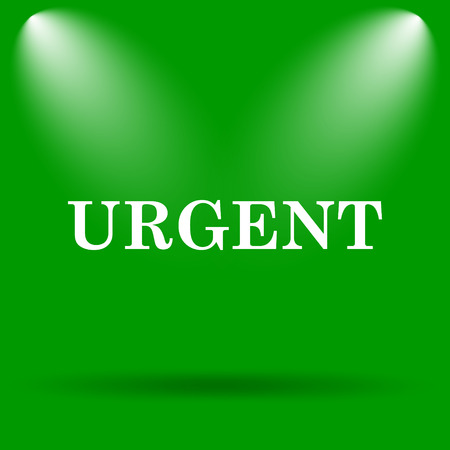 promptness: Urgent icon. Internet button on green background. Stock Photo