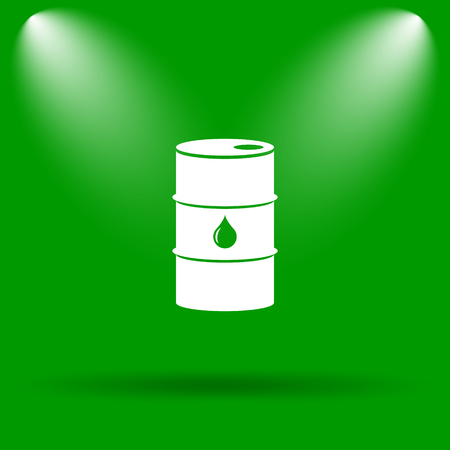 barrell: Oil barrel icon. Internet button on green background.