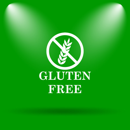 inspected: Gluten free icon. Internet button on green background. Stock Photo