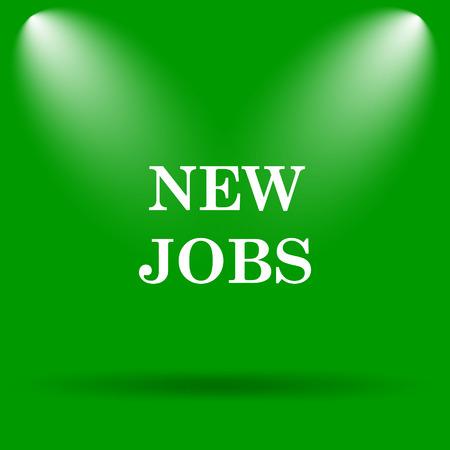 jobs: New jobs icon. Internet button on green background. Stock Photo