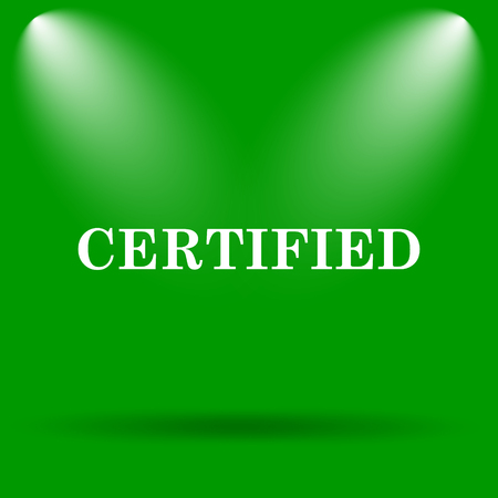 certify: Certified icon. Internet button on green background. Stock Photo