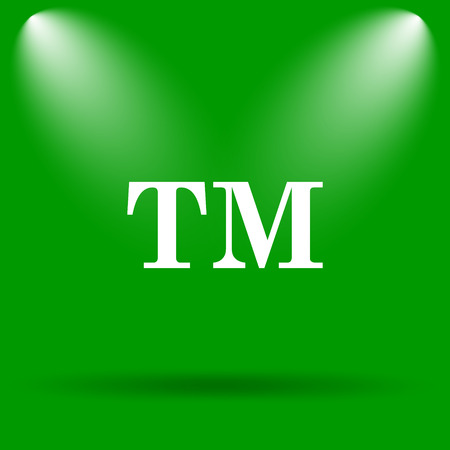 trade mark: Trade mark icon. Internet button on green background.