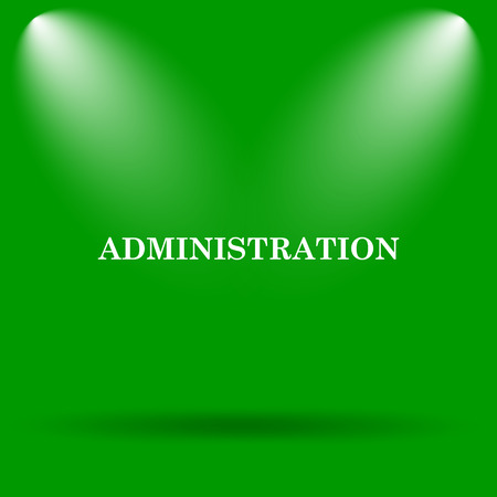 administration: Administration icon. Internet button on green background.