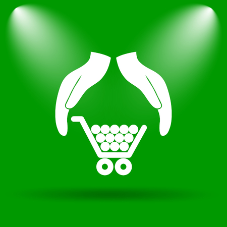 consumer protection: Consumer protection, protecting hands icon. Internet button on green background.