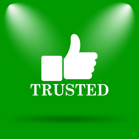 trusted: Trusted icon. Internet button on green background. Stock Photo