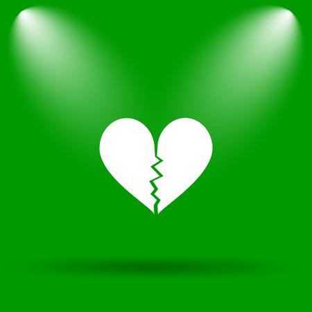 delusion: Broken heart icon. Internet button on green background. Stock Photo