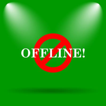 offline: Offline icon. Internet button on green background.