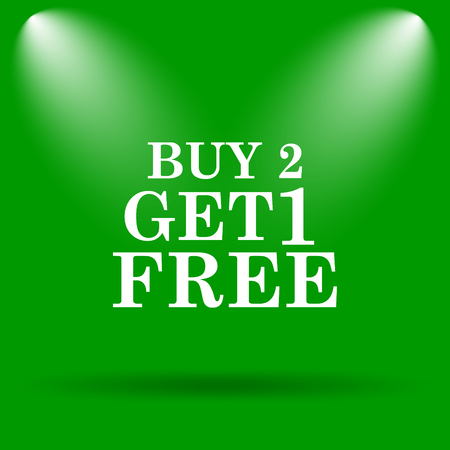 free offer: Buy 2 get 1 free offer icon. Internet button on green background.