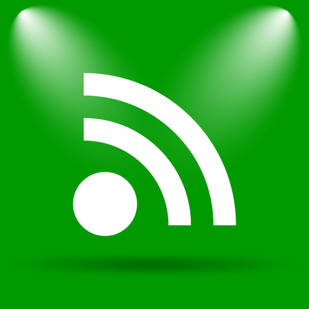 meta: Rss sign icon. Internet button on green background. Stock Photo