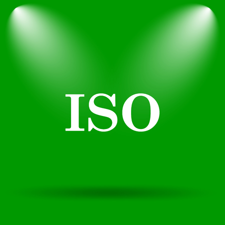 iso icon: ISO icon. Internet button on green background.