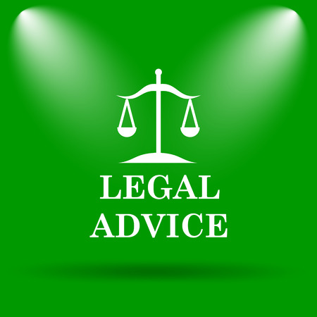 judiciary: Legal advice icon. Internet button on green background.