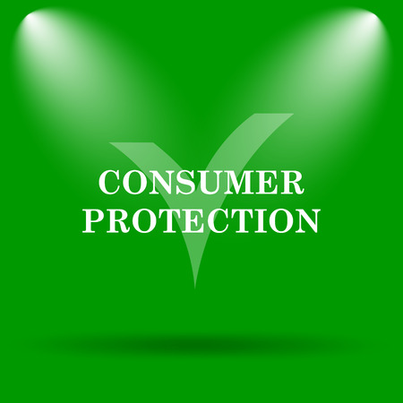 consumer protection: Consumer protection icon. Internet button on green background.