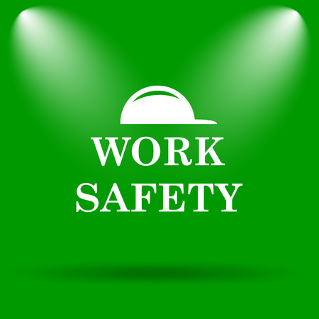 dangerous construction: Work safety icon. Internet button on green background.