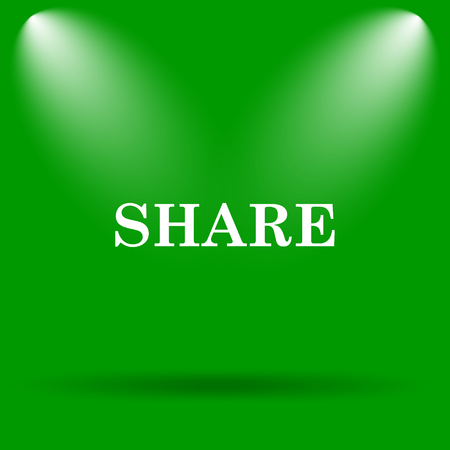 share icon: Share icon. Internet button on green background.