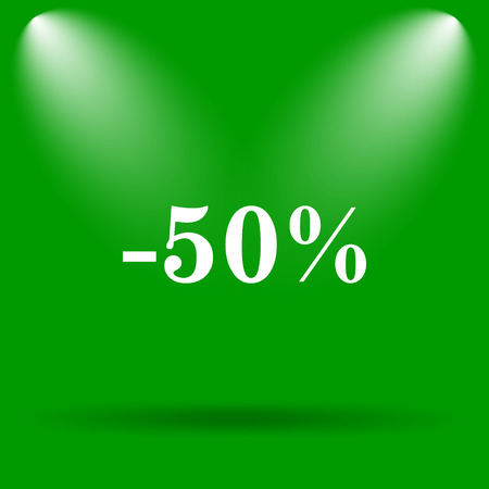 50: 50 percent discount icon. Internet button on green background.