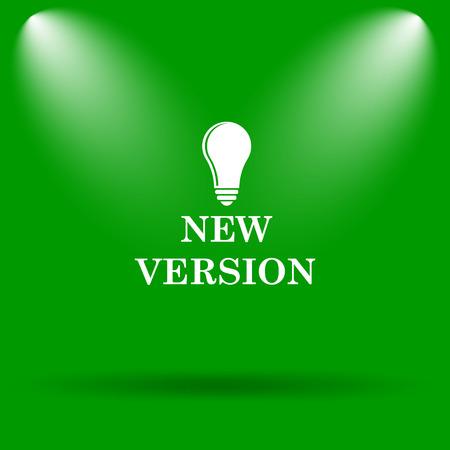 version: New version icon. Internet button on green background.