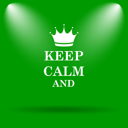 Keep Calm Icon Internet Button On Blue Background Stock Photo