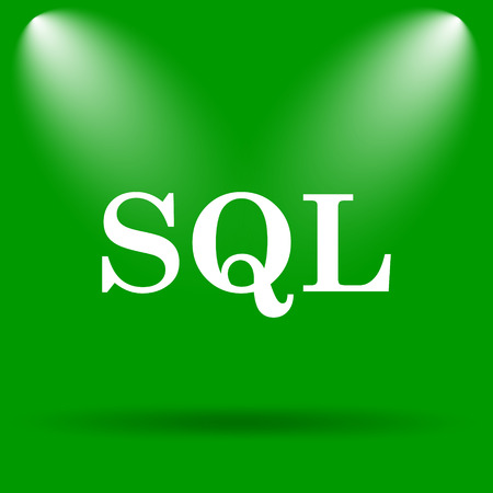 sql: SQL icon. Internet button on green background.