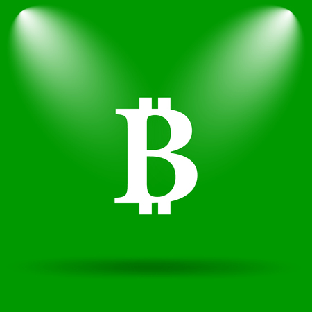 p2p: Bitcoin icon. Internet button on green background. Stock Photo