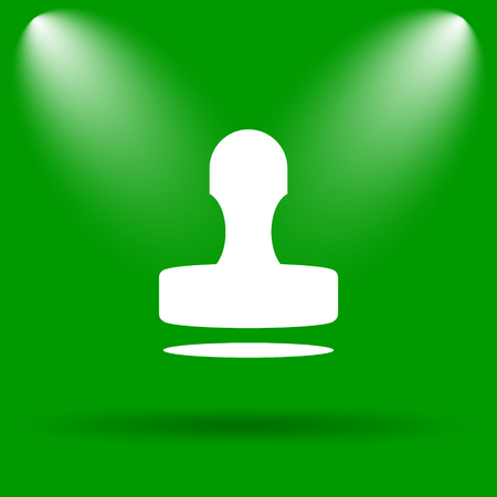 stamper: Stamp icon. Internet button on green background. Stock Photo