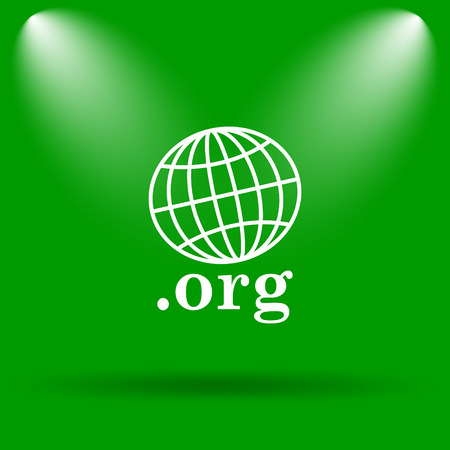 org: .org icon. Internet button on green background.