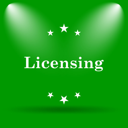 property rights: Licensing icon. Internet button on green background.