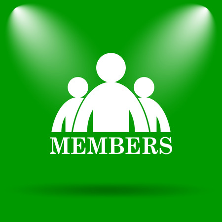 fellowship: Members icon. Internet button on green background.